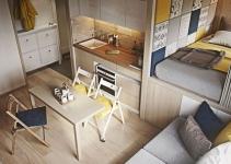 thiết kế thi công nội thất nhà 15m2 đầy đủ tiện nghi