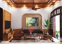 thiết kế thi công nội thất nhà 40m2 gỗ tự nhiên
