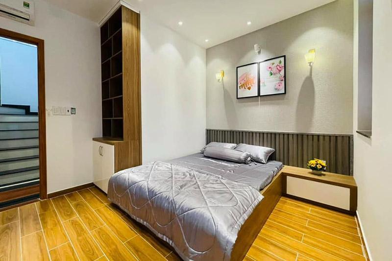 thiết kế thi công nội thất phòng ngủ gỗ an cường nhà 4.5x9m