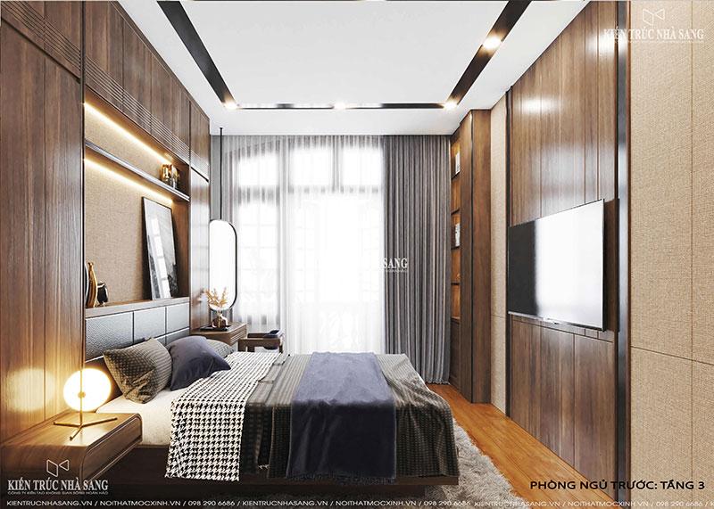 thiết kế thi công nội thất phòng ngủ gỗ óc cho nhà 40m2
