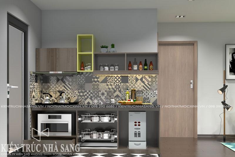 thiết kế tủ bếp xinh nhà 60m2